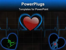Medical background with a heart beat / pulse with a heart rate monitor symbol presentation background