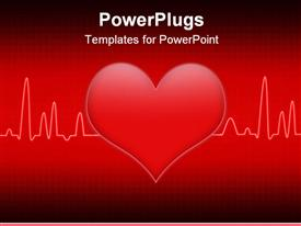 Red background cardiogram design with heart shape template for powerpoint