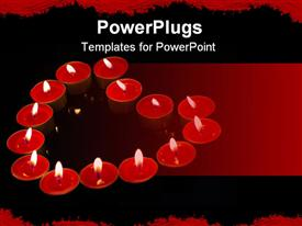 PowerPoint template displaying lots of small red plates with lit candles forming heart shape