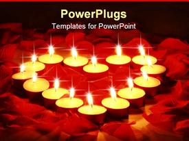 PowerPoint template displaying lots of candles forming a heart shape on rose petals