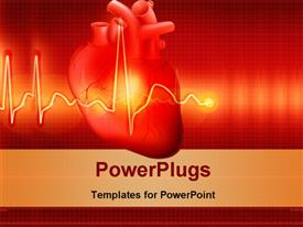 PowerPoint template displaying red color human heart with ECG rays in the foreground