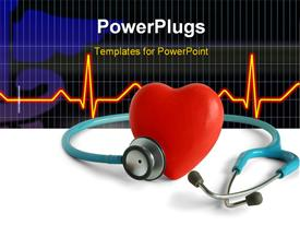PowerPoint template displaying red color heart with stethoscope and ECG rays in background