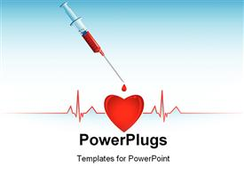 PowerPoint template displaying a heart and an injection with a heartbeat line