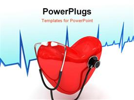 PowerPoint template displaying a heart with a stethoscope and heartbeat line in background