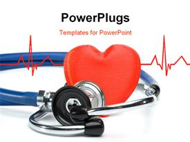 PowerPoint template displaying heart and a stethoscope on a white background. Concept for cardiology in the background.
