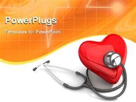 PowerPoint template displaying red color heart with stethoscope on orange and white background