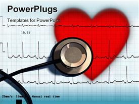 PowerPoint template displaying stethoscope and ECG over a stylized hearth in the background.