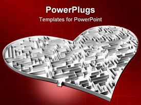 PowerPoint template displaying the heart shaped maze with reddish background