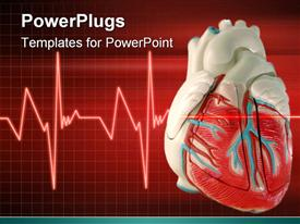 PowerPoint template displaying a 3D heart with an Eco cardiogram wave line