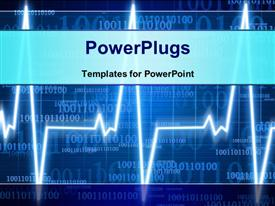 PowerPoint template displaying heart monitor on a dark blue background