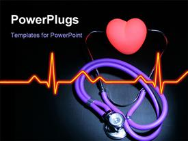 PowerPoint template displaying stethoscope with earpieces on a red Illuminated heart. central with room for text left and right in the background.