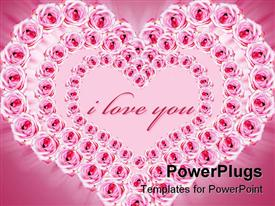 PowerPoint template displaying ink roses in the shape of heart frame