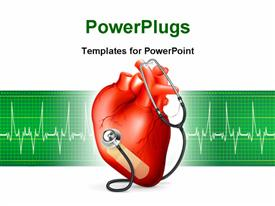 PowerPoint template displaying heart and stethoscope, bitmap copy in the background.