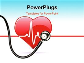 PowerPoint template displaying red heart with stethoscope and ECG wave over white background
