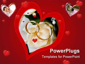 PowerPoint template displaying a collection of hearts with the bigger one having engagement rings in the middle