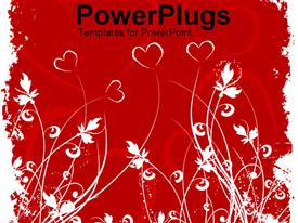 PowerPoint template displaying art work of hearts and flowers in the background.