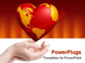 PowerPoint template displaying heart world in hands