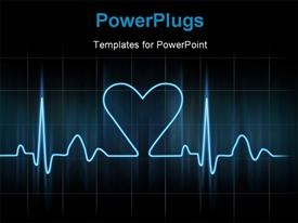 PowerPoint template displaying lovers heart cardiogram