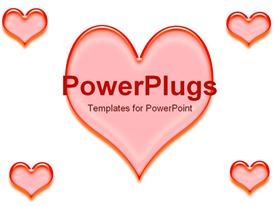 PowerPoint template displaying large red heart with smaller hearts in corners