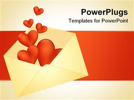 PowerPoint template displaying hearts bursting out of the envelope