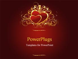 PowerPoint template displaying two gold colored hearts with ribbons on a red background