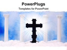 PowerPoint template displaying columns and Clouds With Blue Sky and Cross in the background.