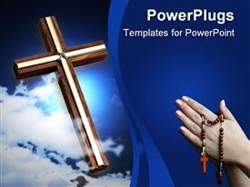 PowerPoint template displaying a holy cross and a pair of hands asking for forgiveness