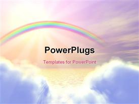 3D-grahpic of a rainbow, clouds, ocean template for powerpoint