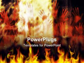 PowerPoint template displaying human hands in flames depicting fierce representation of hell people burning in fire flames