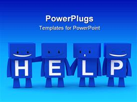 3D characters forming together the word help template for powerpoint