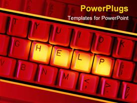 PowerPoint template displaying depiction of a red keyboard with help text in gold