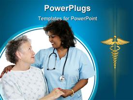 PowerPoint template displaying elderly patient and a caring nurse or doctor