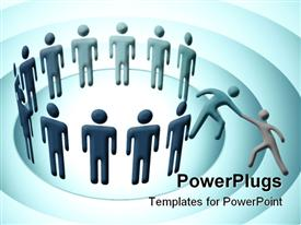 PowerPoint template displaying a group of people along with a person trying to being in one more person