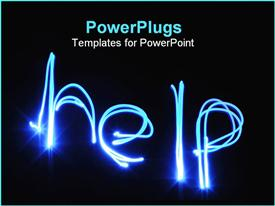 PowerPoint template displaying electric blue lights spell help on black background