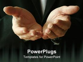 PowerPoint template displaying man gives his hands in asking for help