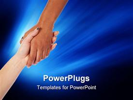 Two female hands reaching and grasping each other for help and support powerpoint design layout