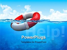 PowerPoint template displaying life saver on water surface with help text and blue sky