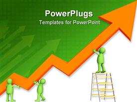 PowerPoint template displaying a figure working on the growth arrow