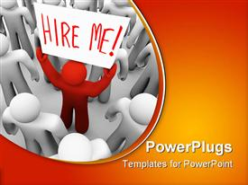 Red person stands out in a crowd holding a sign reading Hire Me template for powerpoint
