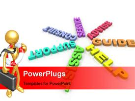 Several words such as Help and Assist in a ring powerpoint theme