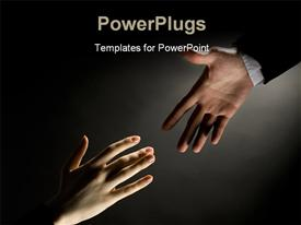 PowerPoint template displaying helping hand stretched out to other hand over black background