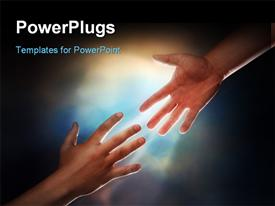 PowerPoint template displaying two male hands in the background.