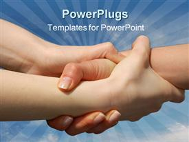 Helping Hands isolated against a blue sky template for powerpoint