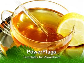 PowerPoint template displaying close up of cup of tea with mint lemon and honey