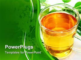 PowerPoint template displaying cup of Elderflower tea with fresh flowers