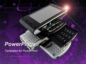 Stack of Several Modern Mobile Phones on Purple Bright Fractal Background powerpoint theme