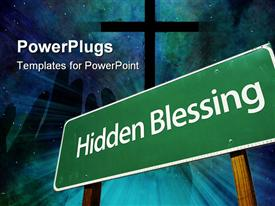 Hidden Blessing Green Road Sign with Dramatic Clouds and Sky powerpoint template