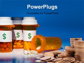 PowerPoint template displaying high cost of medication is like pouring money down the drain