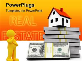 PowerPoint template displaying small cottage and a three-dimensional stack of hundred-dollar bills in the background.