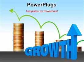 PowerPoint template displaying the word GROWTH with increasingly larger letters and an arrow on top of the last letter